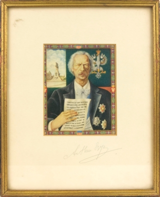 Color reproduction of a portrait of Polish President and famed composer I. J. Paderewski, Signed...