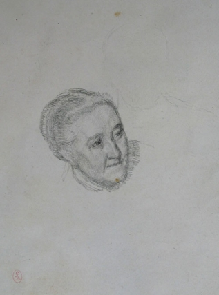 Portrait of Miss Gaskell, A Daughter of Elizabeth Gaskell. Head, three quarter to right, a second figure is very lightly indicated in outline