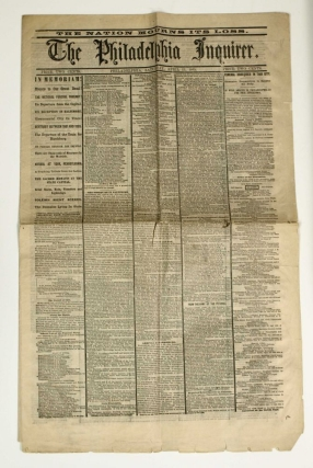 The Philadelphia Inquirer. The Nation Mourns Its Loss. Abraham Lincoln