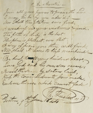 """Two handwritten poems by by Jonathan Blake 3d, the first entitled """"The Season of Youth,"""" the second """"An Acrostic"""""""