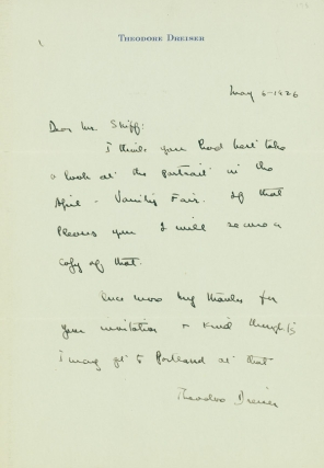 """Autograph Letter, signed (""""Theodore Dreiser""""), to Frederick W. Skiff"""