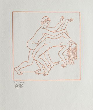Woodcut: Two nude figures, Daphnis and Chloe