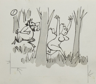 "6 Original drawing finished pen and ink drawing with Satyr chasing Naked woman and golfer chipping out of trees. ""Claude"" & Golf, Claude Smith."