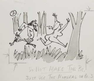 6 Original drawing finished pen and ink drawing with Satyr chasing Naked woman and golfer chipping out of trees