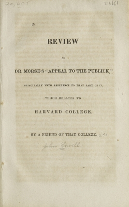 "Review of Dr. Morse's ""Appeal to the Publick,"" principally with Reference to the Part of it,..."
