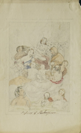 "Drawing in pencil heightened in watercolor ""Infancy of Shakespeare."" Signed ""Y.W.W."" with poem..."