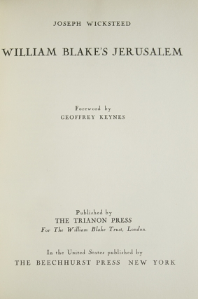William Blake's Jerusalem. Foreword by Geoffrey Keynes