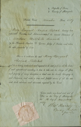 "Printed document, accomplished in a clerical hand, appointing Mary Margaret Hasford Mitchell ""Curatrix and Administratrix of the Vacant Succession of Andrew Mitchell deceased"""