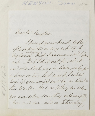 "Autograph letter signed, to ""Mrs. [John] Hughes"" [mother of the Thomas Hughes?], accepting an..."