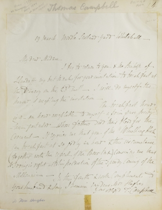 "Autograph letter signed ""T. Campbell"" to Mrs. [John] Hughes, accepting her invitation to breakfast. Thomas Campbell."