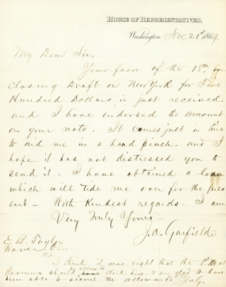 "Autograph Letter, signed (""J.A. Garfield""), as Congressman from Ohio, to Ezra Booth Taylor of..."