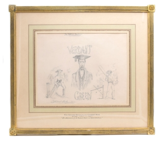 """Verdant Green, An Oxford Freshman"": Pencil drawing, signed ""Cuthbert Bede-1853"" lower..."