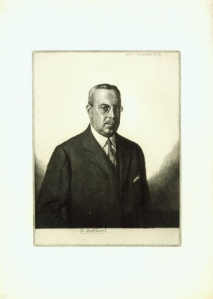 """Albert H. Wiggin, Esq."" (President of Chase Manhattan Bank): etching. Gerald L. Brockhurst."
