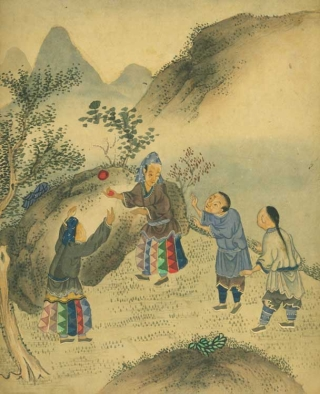 Album of 34 Chinese watercolor paintings on paper