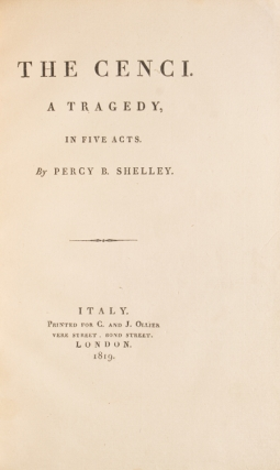 The Cenci. A Tragedy. Shelley, sshe
