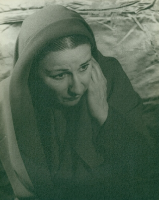 "Portrait photograph of Judith Anderson as Mother Mary in ""Family Portrait"" Judith Anderson, Carl..."