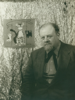 Portrait photograph of Burl Ives as 'Big Daddy' in CAT ON A HOT TIN ROOF. Burl Ives, Carl Van...