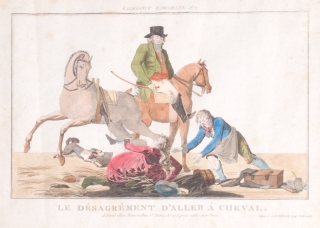 "Hand-colored Print: ""Le Désagrément d'aller à Cheval."" N. 2 from"" L'Elegance Parisienne."""