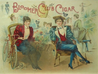 "Color Lithograph: Advertising poster for ""Bloomer Cut Cigar,"" depicting two turn-of-the-century women wearing bloomers, seated, smoking cigars. Cigars."