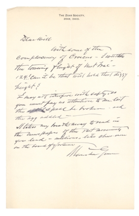 Collection of 36 Autograph Letters, signed, from Alexander Gunn to William C. Whitney, and 2 letters from acquaintances of Gunn to Whitney and Senator Mark Hanna