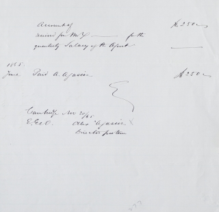"Manuscript receipt for $250, initialled by Agassiz, ""for the quarterly Salary of the Agent""..."