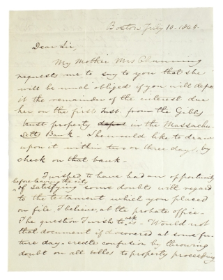 "Autograph Letter, signed (""Wm F Channing"") to Wm. D. Lotrier, conveying a financial request from..."