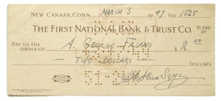 Signed Check Made out to A. George Fasano drawn on the First National Bank & Trust Co. for $2.00....