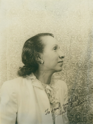 Portrait photograph of Shirley Graham DuBois, inscribed to Saul Mauriber