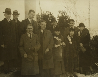 Group photograph of Gertrude Stein and Alice B. Toklas with unidentified faculty members of the...