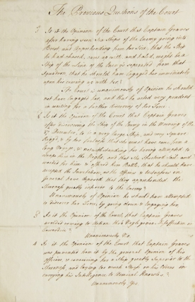 "Manuscript Document entitled ""The Previous Questions of the Court"" giving the Court's final..."