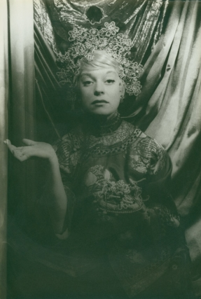 "Portrait photograph of Carol Channing ""en chinoise"" Carol Channing, Carl Van Vechten."