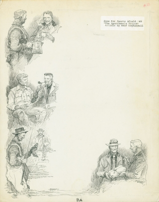 "4 vignette pen and ink drawings on one folio sheet done for Sports Afield '49. ""The Sportsman's..."