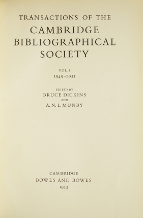 Transactions of the Cambridge Bibliographical Society