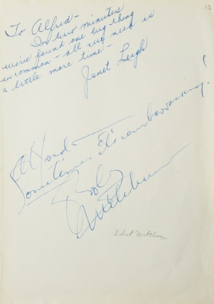 Autograph inscriptions signed, to photographer Alfred Eisenstaedt. Janet Leigh, Robert MITCHUM