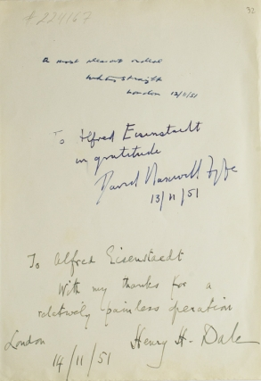 Autograph inscriptions signed, to photographer Alfred Eisenstaedt. Sir Henry H. Dale, Whitney...