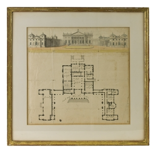 Ink and watercolor rendering of an English manor house, with detailed plan of first floor