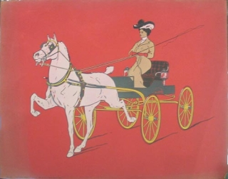 "Chromolithograph: ""No 37 Blue Ribbon Winner"", lady in carriage"