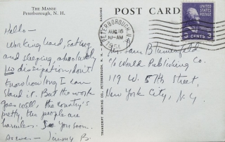 "Autograph Postcard signed ""Jimmy B."" of the Manse Peterborough, N.H. To Sam Blumenfeld c/o World Publishing Co. James Baldwin."