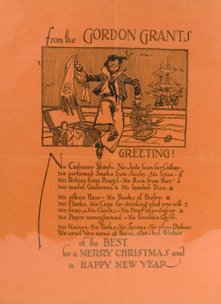 Album of 22 Xmas and Seasons Greetings Cards and Broadsheets sent from The Gordon (Booby & Gordon) Grants 1926-1948 to the bakes, many signed