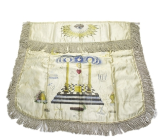 Masonic Apron Engraved and polychrome decorated on silk with silver thread fringe around the borders