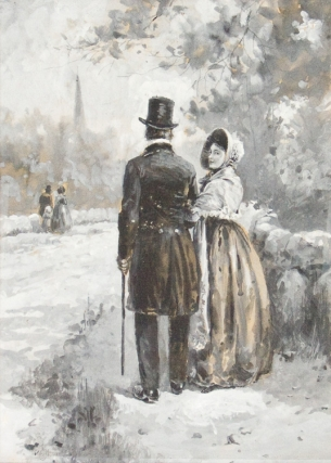 Watercolor en grisaille on board of man and woman. Edmund H. Garrett