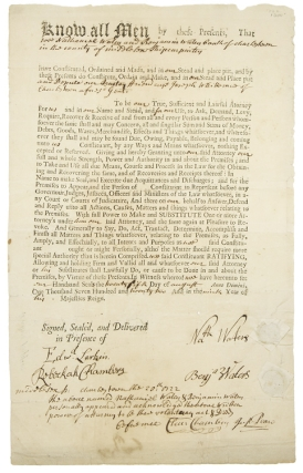 "Printed Document, accomplished in manuscript, signed (""Nath. Waters & Benj. Waters""), granting..."