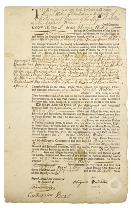 "Autograph Document, Signed (""Thad. Mason""), as Clerk of the Middlesex Courts for a legal deed..."