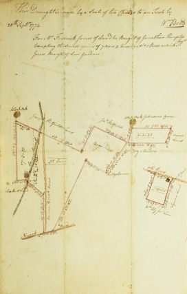 Manuscript Deed to a Piece of Land in Essex County, New Jersey, with Legal Description, April 12, 1774. [With:] Manuscript Map of the above Tract of Land on Canoe Brook, Sept. 20, 1774