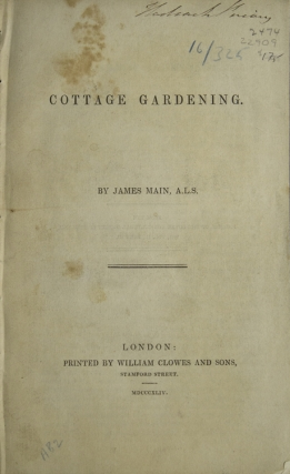 Cottage Gardening. Gardening, James Main