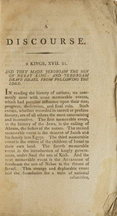 A Discourse delivered on the Annual Fast in Massachusetts, April 9, 1801