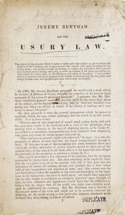 Jeremy Bentham and the Usury Law. Jeremy Bentham.