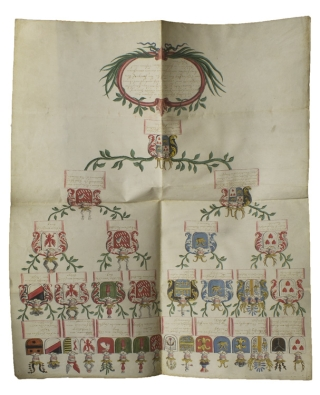 "Manuscript on vellum of the family tree of ""Theodor Heinrich von Morawitzky zu Ruednitz aus..."