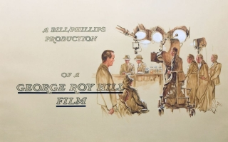 "Title card illustration for the opening credit of The Sting, titled ""A Bill/Philips Production of a George Roy Hill Film,"" and showing the camera operator, director, and others filming a scene. The Sting, Jaroslav, Jerry Gebr."