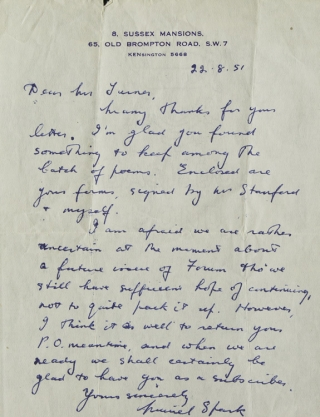 "Autograph Letter Signed (""Muriel Spark""), as editor of her short-lived magazine THE FORUM,..."